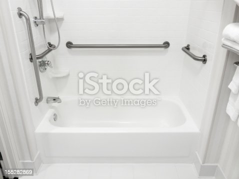 Handicapped disabled access bathroom bathtub with grab bars.
