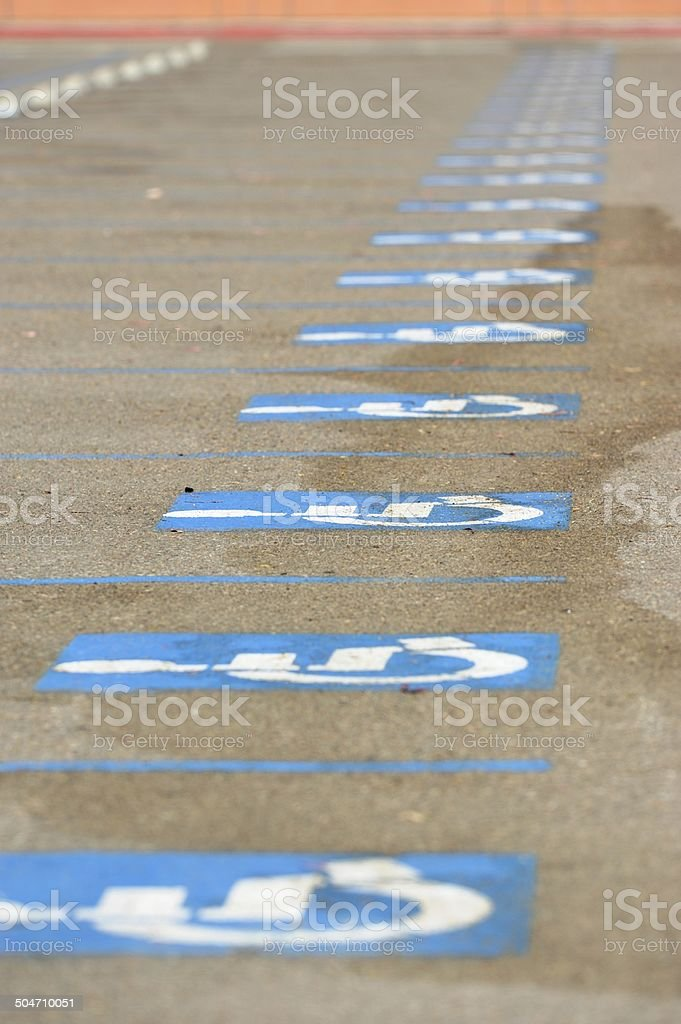 Handicapped parking lot stock photo
