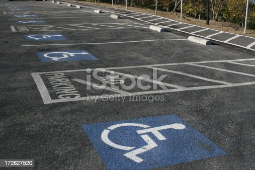 row of handicapped parking spaces