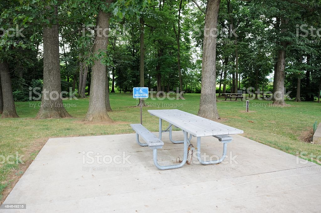 Handicapped picnic table area stock photo