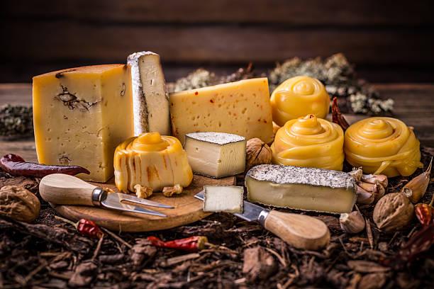 Handicraft cheeses stock photo