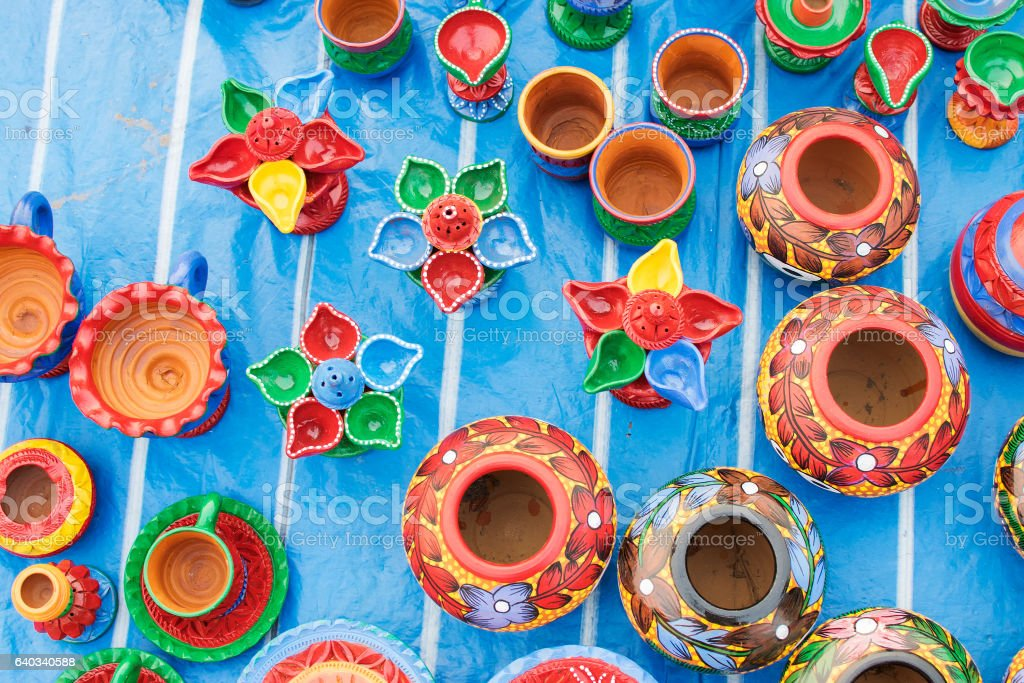Handicraft items made of clay on display , Kolkata stock photo