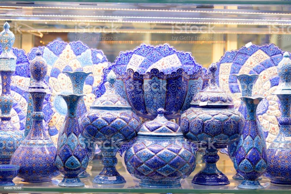 Handicraft made in Esfahan, Isfahan Grand Bazaar, Naqsh-e Jahan Square, esfahan, Iran stock photo