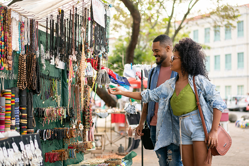 Afro couple, Street market, Shopping, Happiness, Tourists