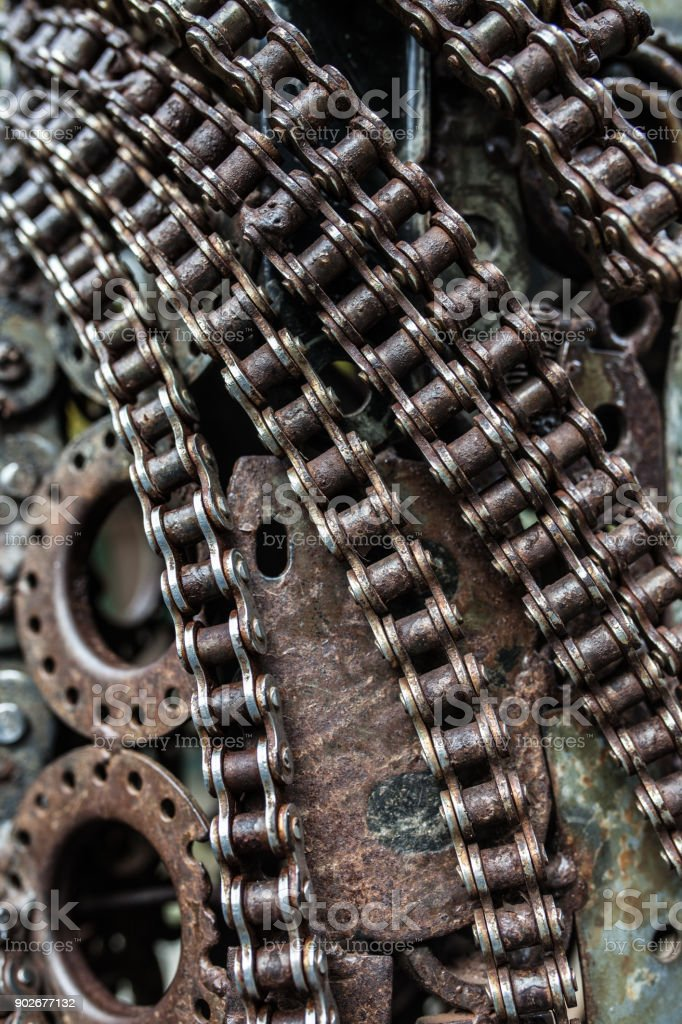 Handicraft metal artwork from used spare parts stock photo