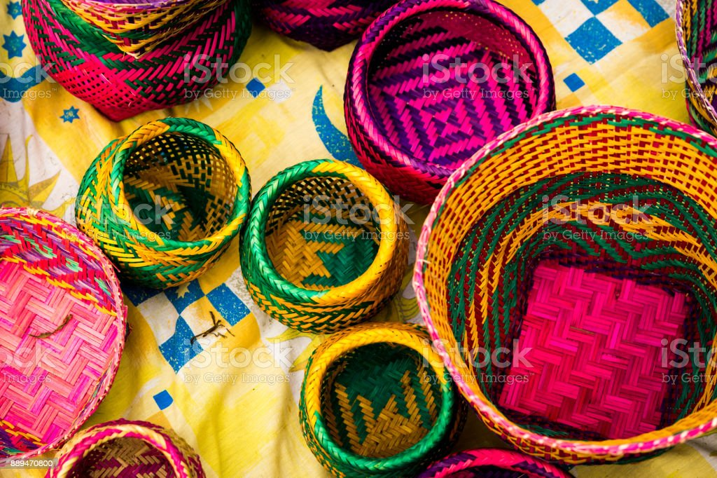 Handicraft products of an indigenous tribe in Brazil stock photo