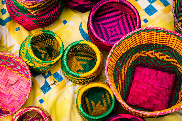 handicraft products of an indigenous tribe in brazil - indigenous culture stock pictures, royalty-free photos & images