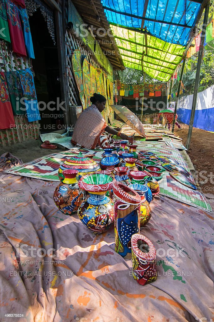 Handicrafts Being Prepared For Sale Pingla Village West Bengal India