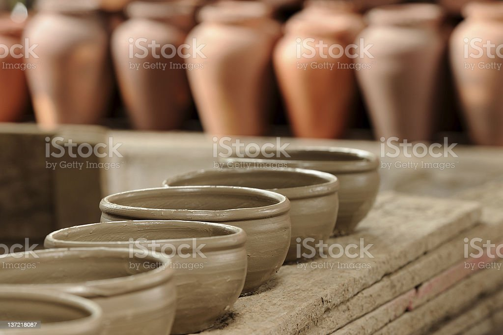 Handicrafts made of pottery clay royalty-free stock photo