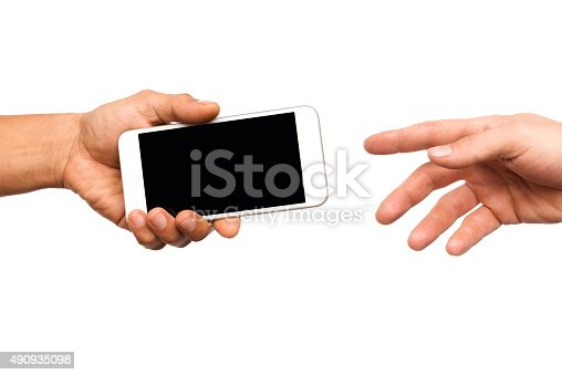 Handing a Smart Phone Isolated on white