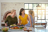 Shot of a three generational family of women cooking in the kitchen