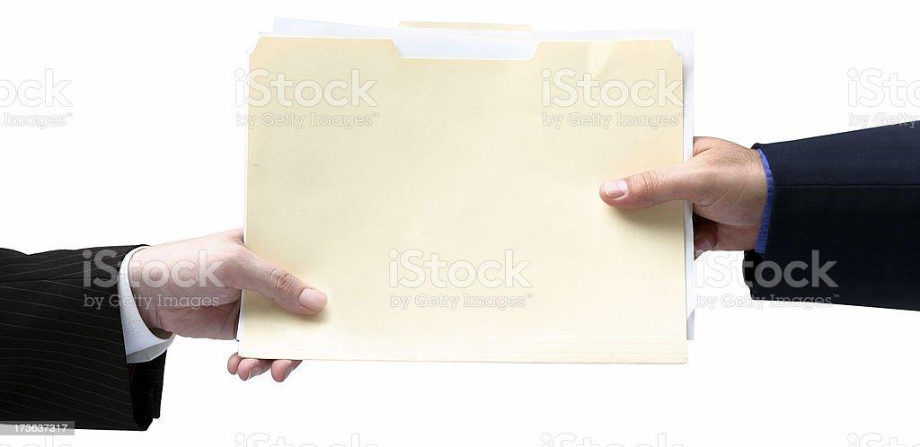 Handing File Folder stock photo