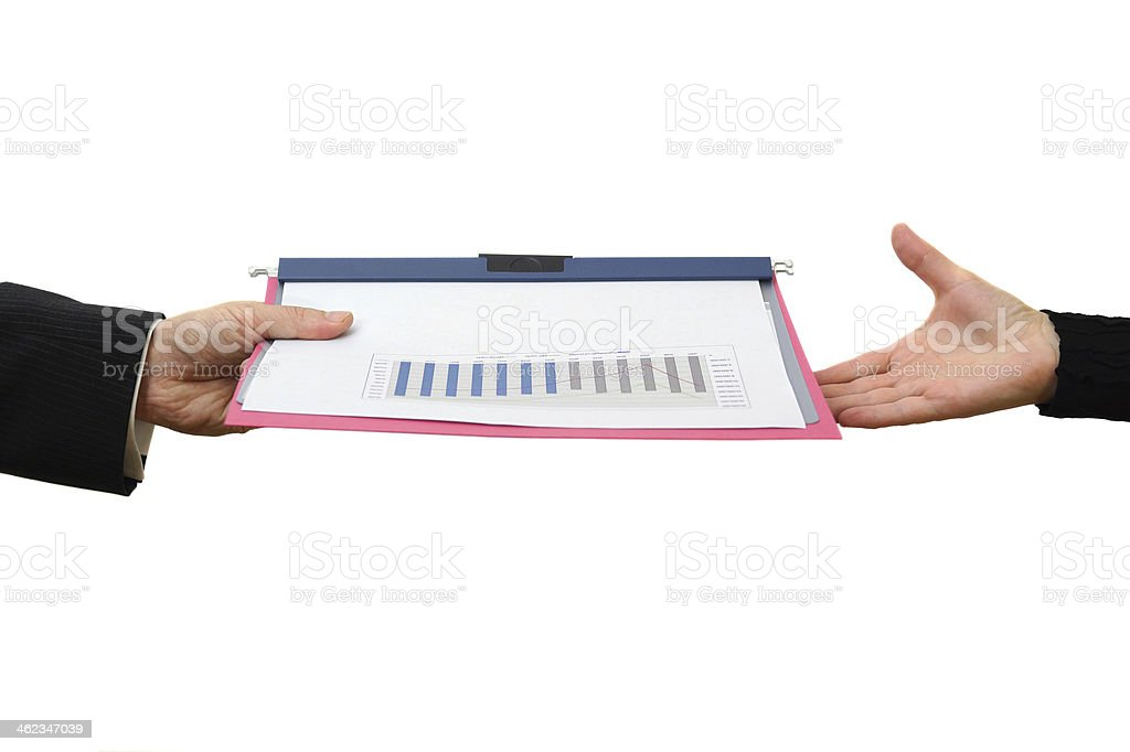 Handing File Folder, teamwork concept stock photo