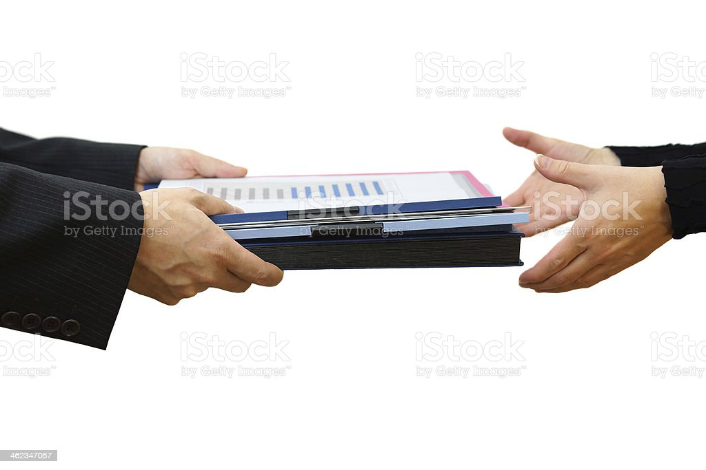 Handing File Folder, teamwork concept stock photo