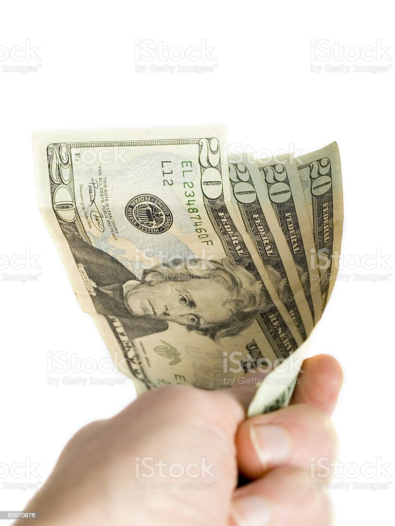 Handing over Dollars royalty-free stock photo