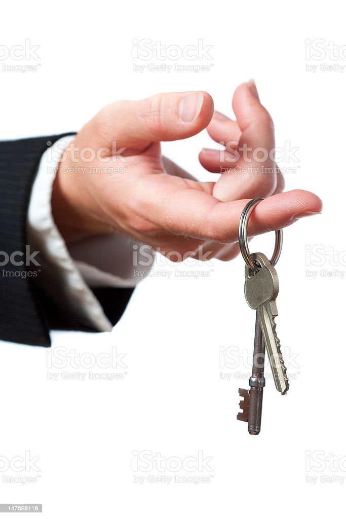 Handing Over Keys royalty-free stock photo
