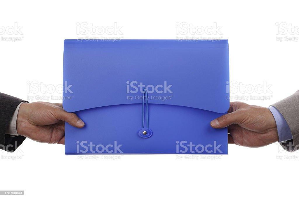 Handing over paperwork stock photo
