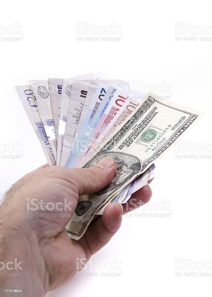 Handing over the money royalty-free stock photo