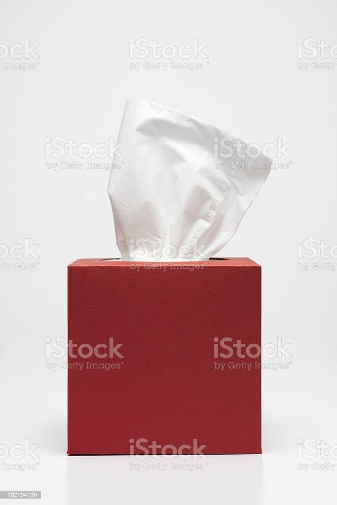 Pañuelo rojo caja de tejido - foto de stock