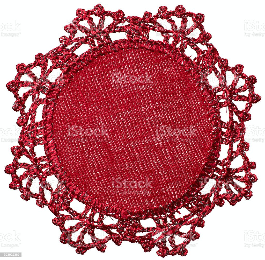 Hand-Knitted linen table napkin stock photo