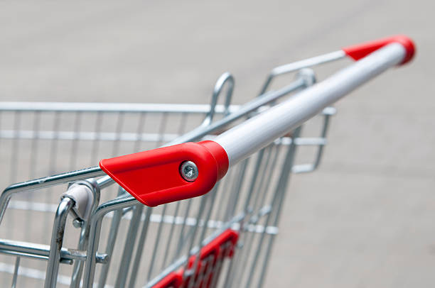 Handle from supermarket shopping cart stock photo