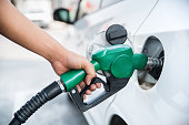 istock Handle fuel nozzle to refuel the car. 524036576