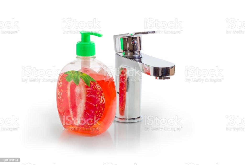 Karıştırıcı dokunun ve şişe sıvı sabun pompa ile ele - Royalty-free Banyo Stok görsel