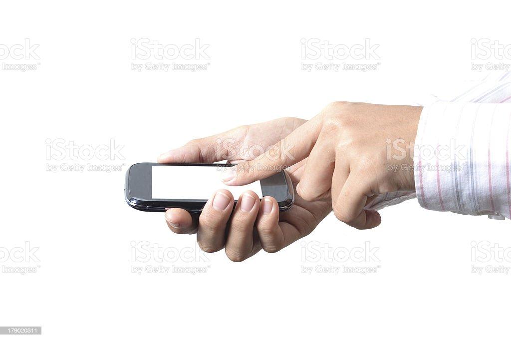 Handle phone on white background. royalty-free stock photo