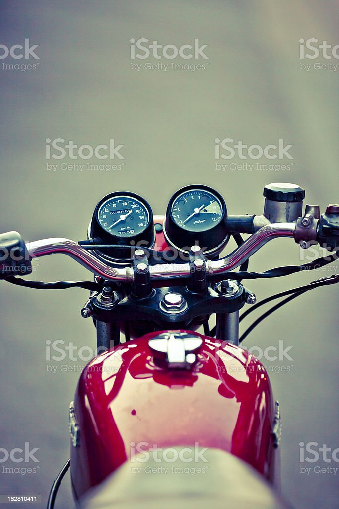 Handlebar of a classic Seventies motorbike royalty-free stock photo