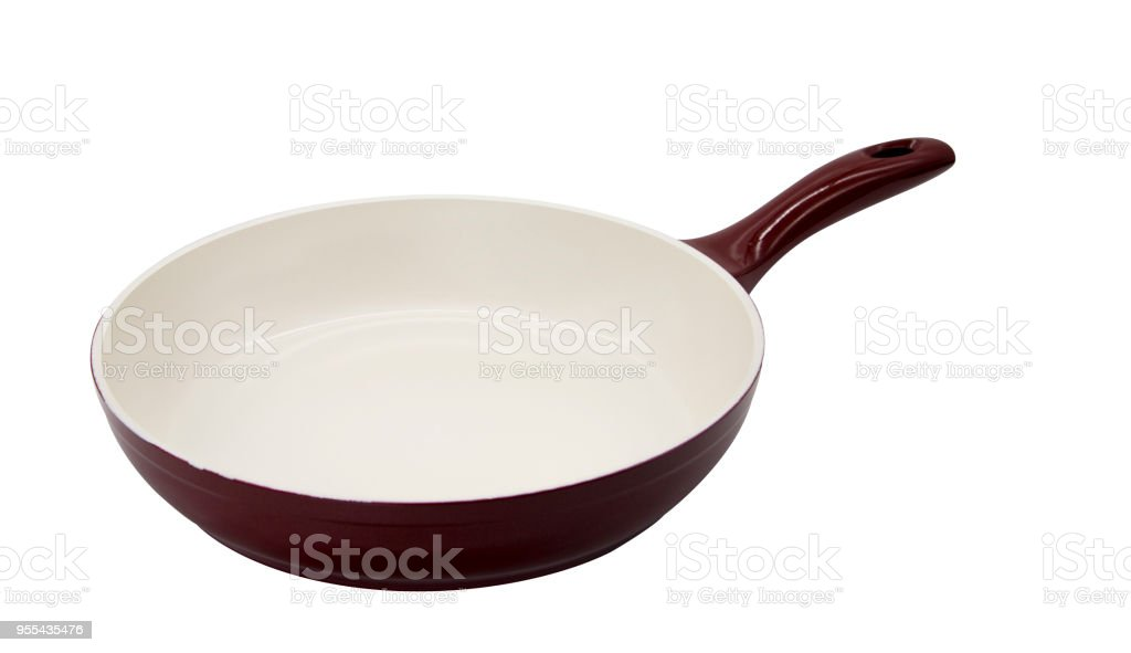 Handled pan over white background stock photo