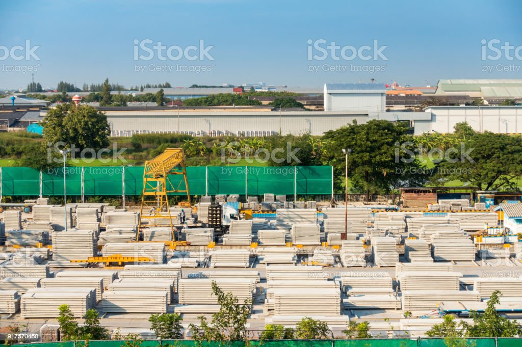 Handling and storage of concrete precast in the yard stock photo