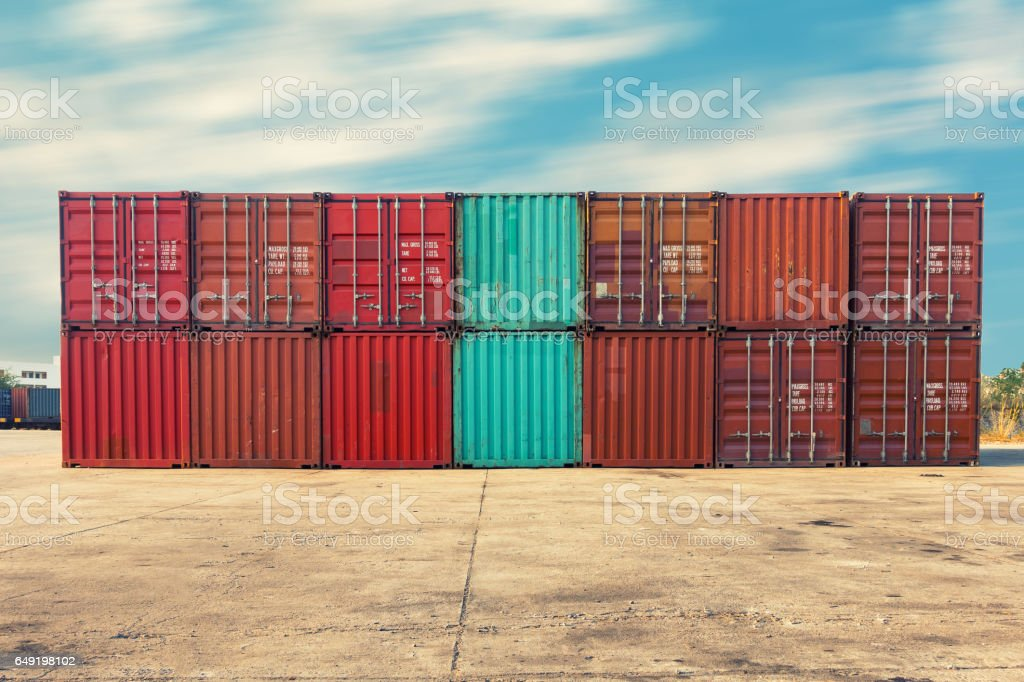 Handling stack of container shipping, Transportation business. stock photo