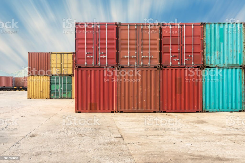 Handling stack of container shipping with sunshine., Transportation business. stock photo