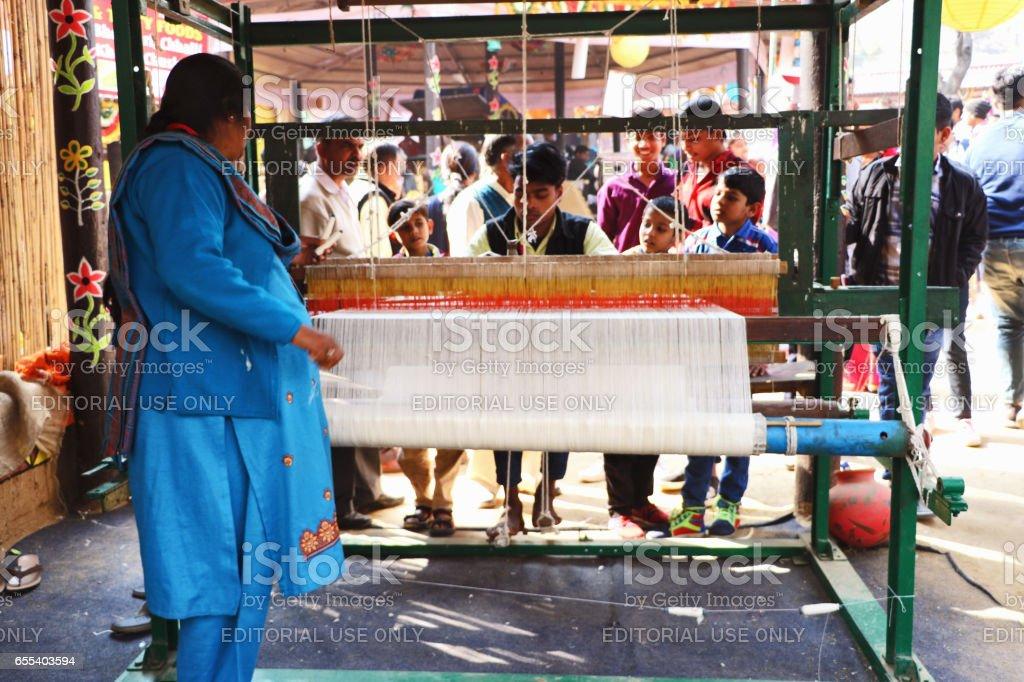 handloom in surajkund fair stock photo
