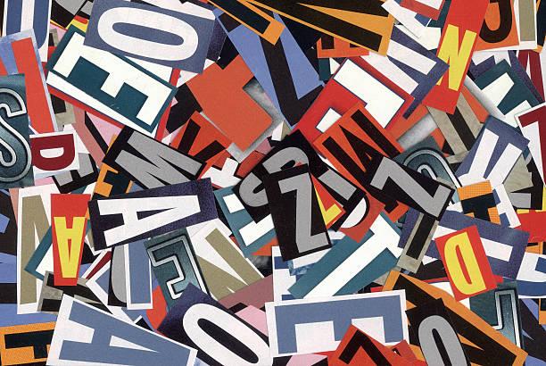handgemachten alphabet collage von magazin buchstaben - kollagenblätter stock-fotos und bilder