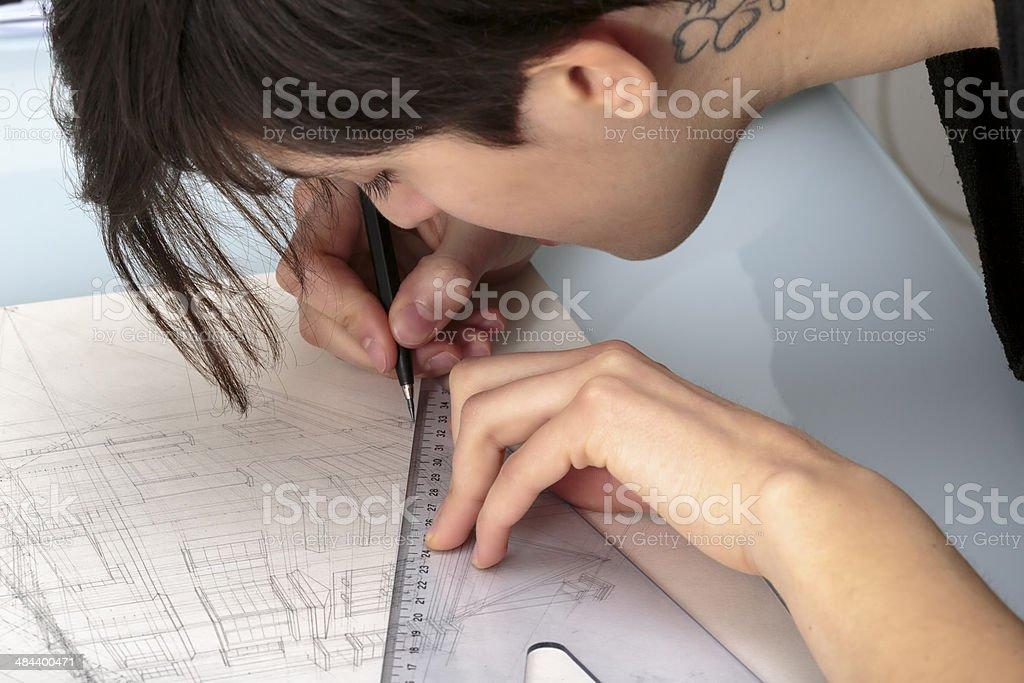 Вручную архитектурных чертежей стоковое фото
