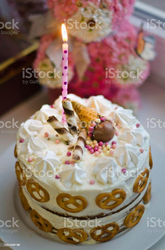 Excellent Handmade Birthday Cake For Baby Girl Stock Photo Download Image Funny Birthday Cards Online Necthendildamsfinfo
