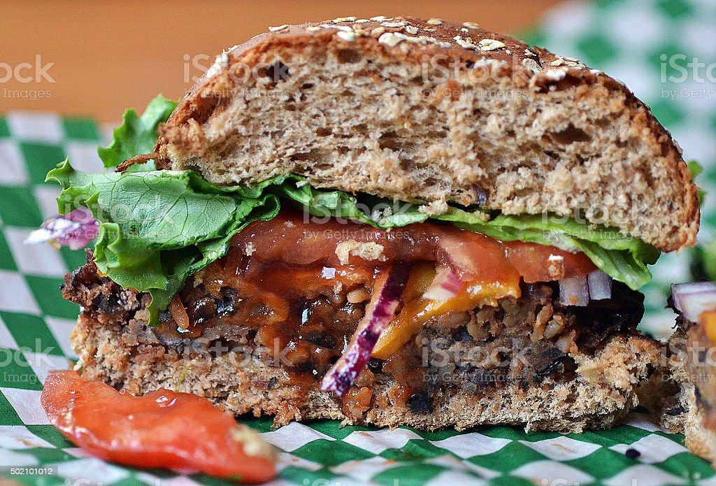 Handmade Black Bean Burger on Whole Grain Bun stock photo