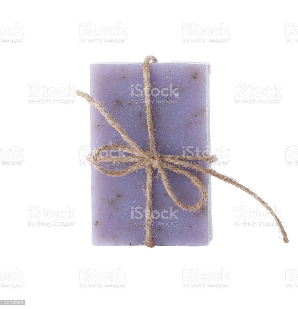 Handmade blueberry soap isolated on white background stock photo