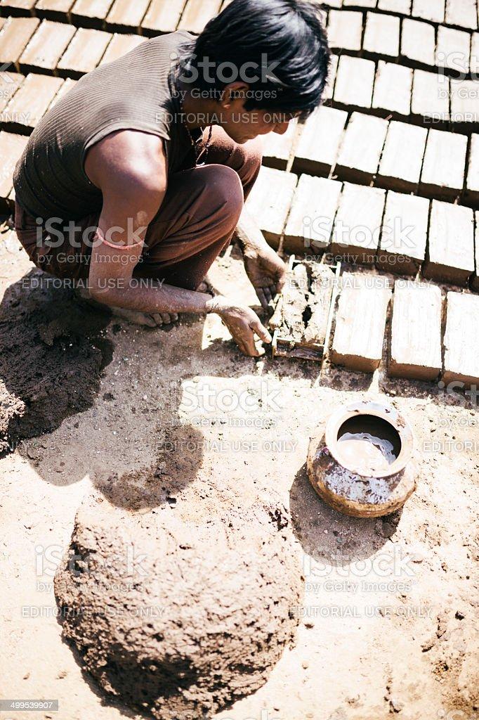 Handmade bricks, Rajasthan stock photo