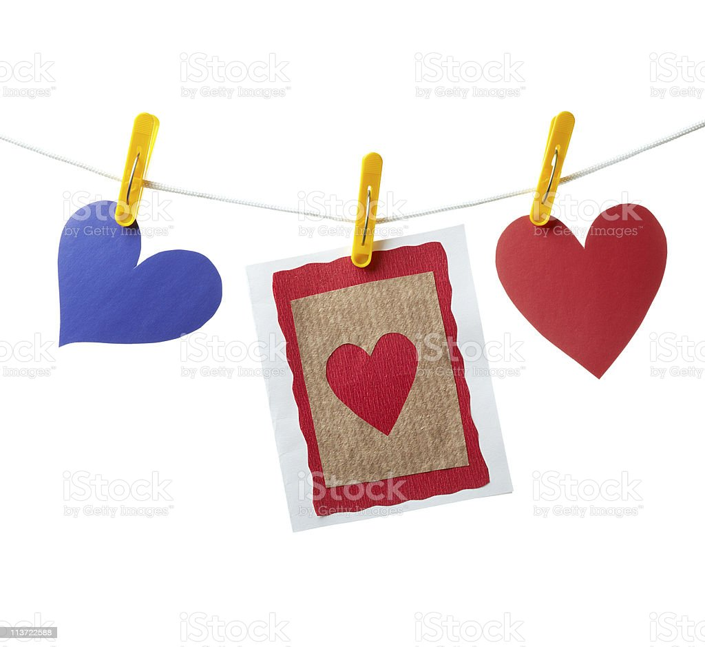 Handmade card with two hearts on a rope royalty-free stock photo