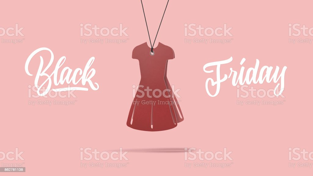 handmade cardboard red dress. Black friday and sale concept stock photo
