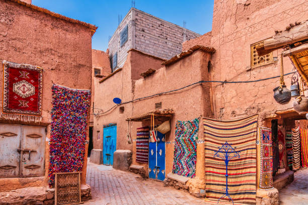 Handmade carpets and rugs in Morocco stock photo