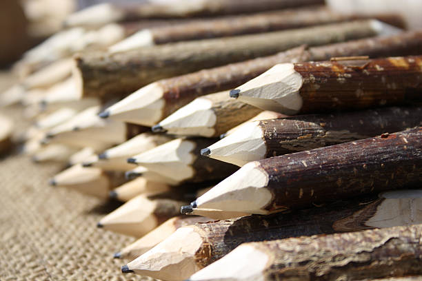 Handmade carved pencils stock photo