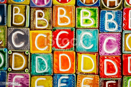 istock Handmade ceramic alphabet background 1139736654