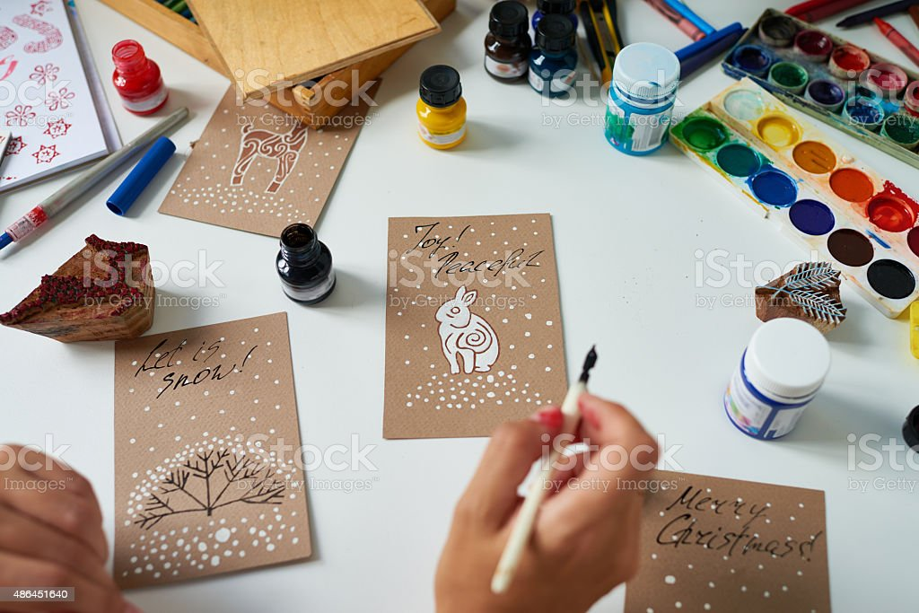 Handmade Christmas cards stock photo