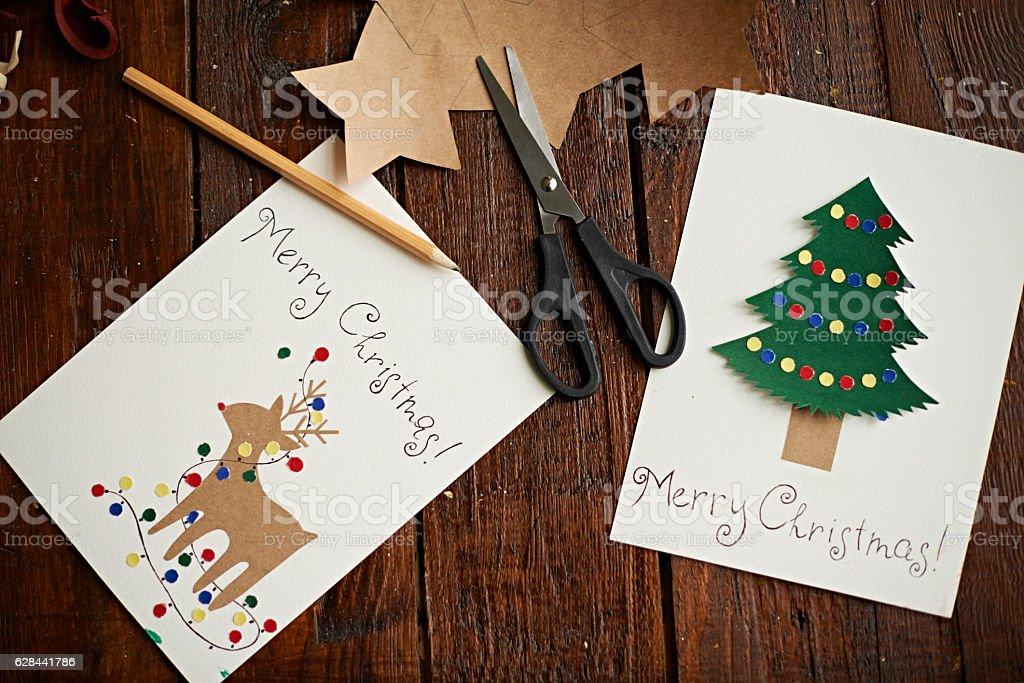 Handmade Christmas cards stock photo