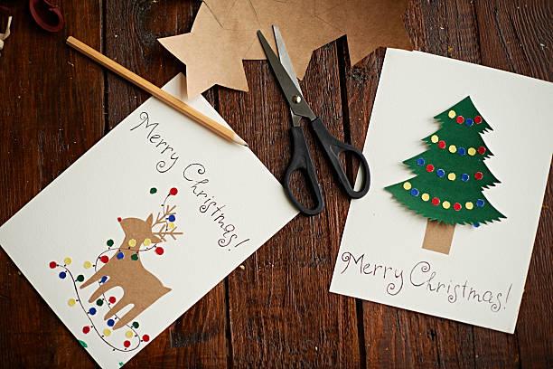 handgefertigte weihnachtskarten - weihnachtskarte stock-fotos und bilder