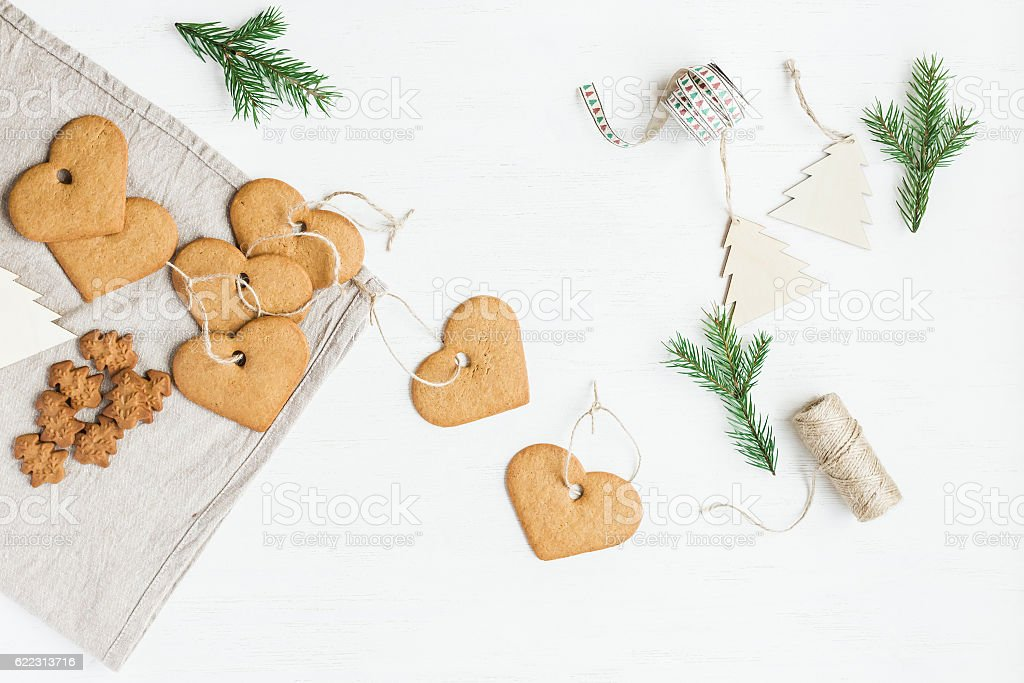Handmade christmas decorations from cookies. Flat lay, top view stock photo