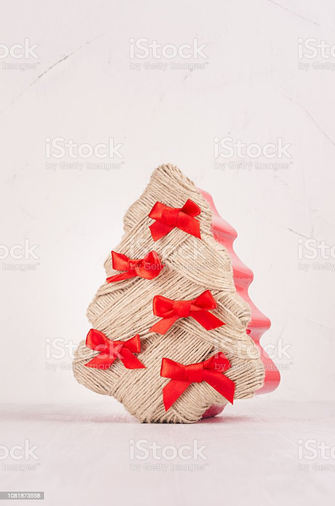 Christmas Tree Bows White.Handmade Christmas Tree With Festive Red Bows On White Wood